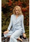 Домашний костюм голубой: кюлоты на резинке и рубашка
