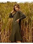 Платье с воланом по низу темно зеленый футер