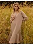 Платье с воланом по низу бежевый футер