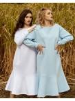 Платье с воланом по низу голубой футер