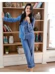 Европейская пижама штаны кофта  Горох Синий