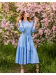 Платье c рукавом буф и оборкой по низу голубое