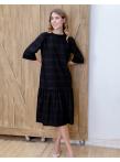 Платье со сборкой по низу в черном цвете