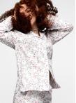 Пижама с брюками с белыми цветами