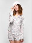 Пижама с длинным рукавом c белыми цветами