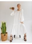 Платье c рукавом реглан и оборкой по низу Молочное