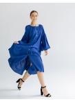 Платье c рукавом реглан и оборкой по низу Синее