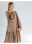 Платье c рукавом реглан и оборкой по низу Беж 9