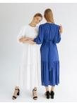 Платье c рукавом буф и оборкой по низу Молочное