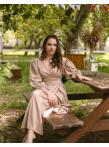 Платье-халат св.бежевый лен цв-10