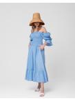 Платье с лифом на резинке в голубом цвете