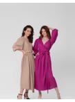 Платье-халат фуксия лен