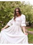 Платье с лифом на резинке в молочном цвете