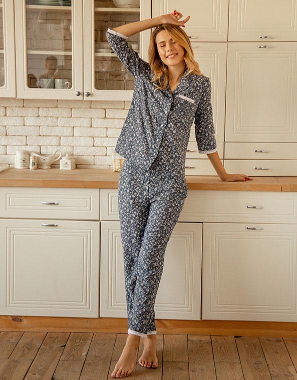 Пижама с хлопковым кружевом темно синий