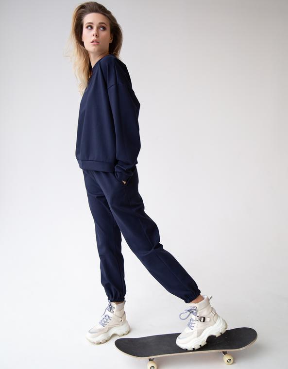 Свитшот+ брюки-джогеры в темно-синем цвете