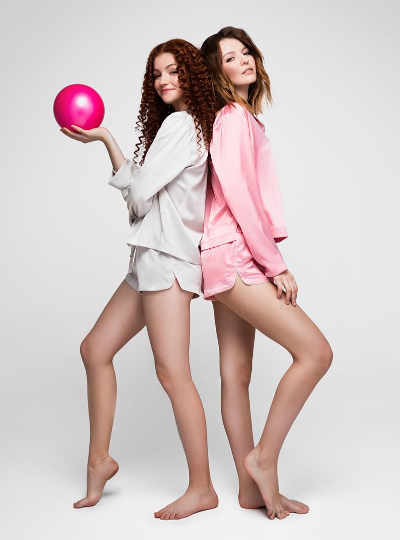 Пижама с длинным рукавом светло-серая