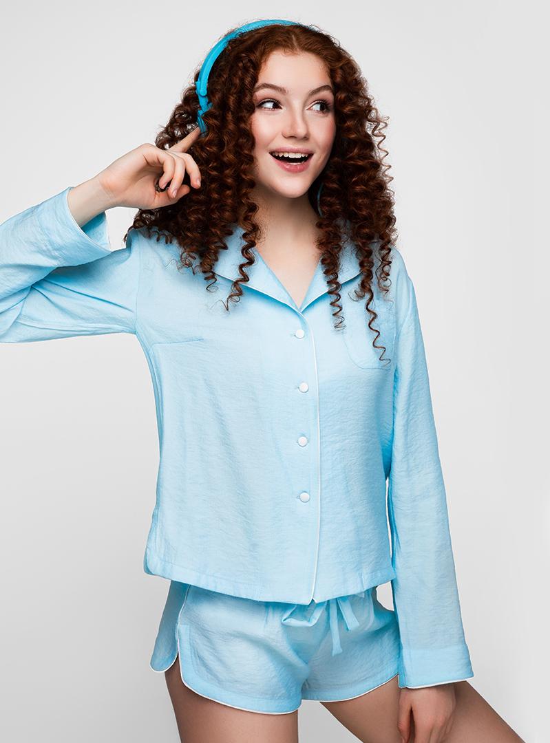 Пижама с длинным рукавом голубая