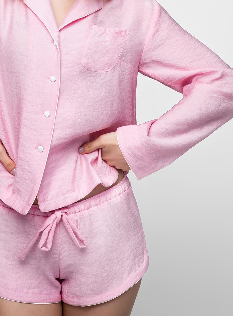 Пижама с длинным рукавом светло-розовая
