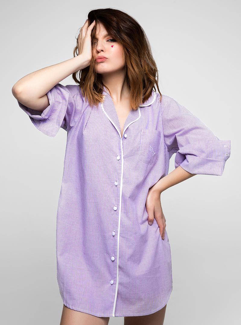 Ночная pубашка фиолетовая в полоску