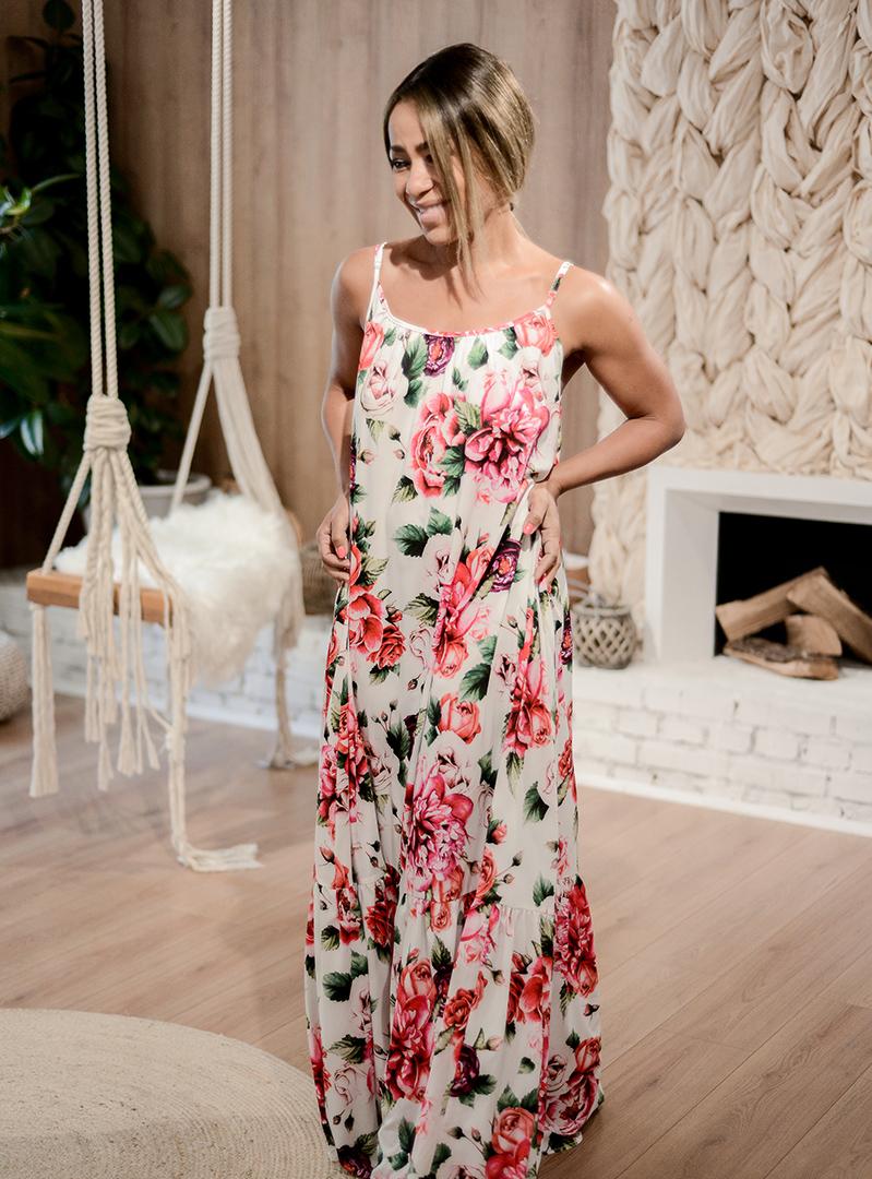 Платье в пол с розами