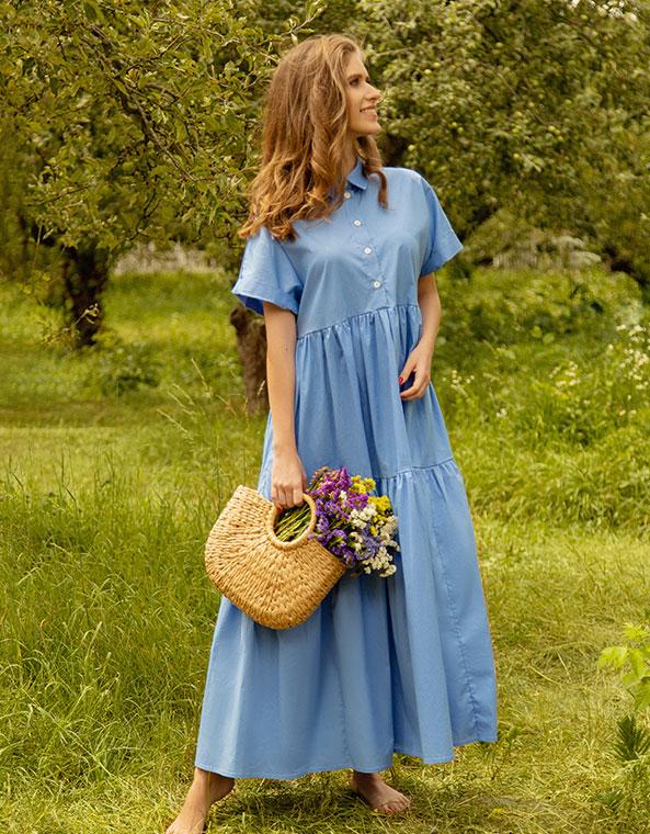 Платье-рубашка ярусное Голубое