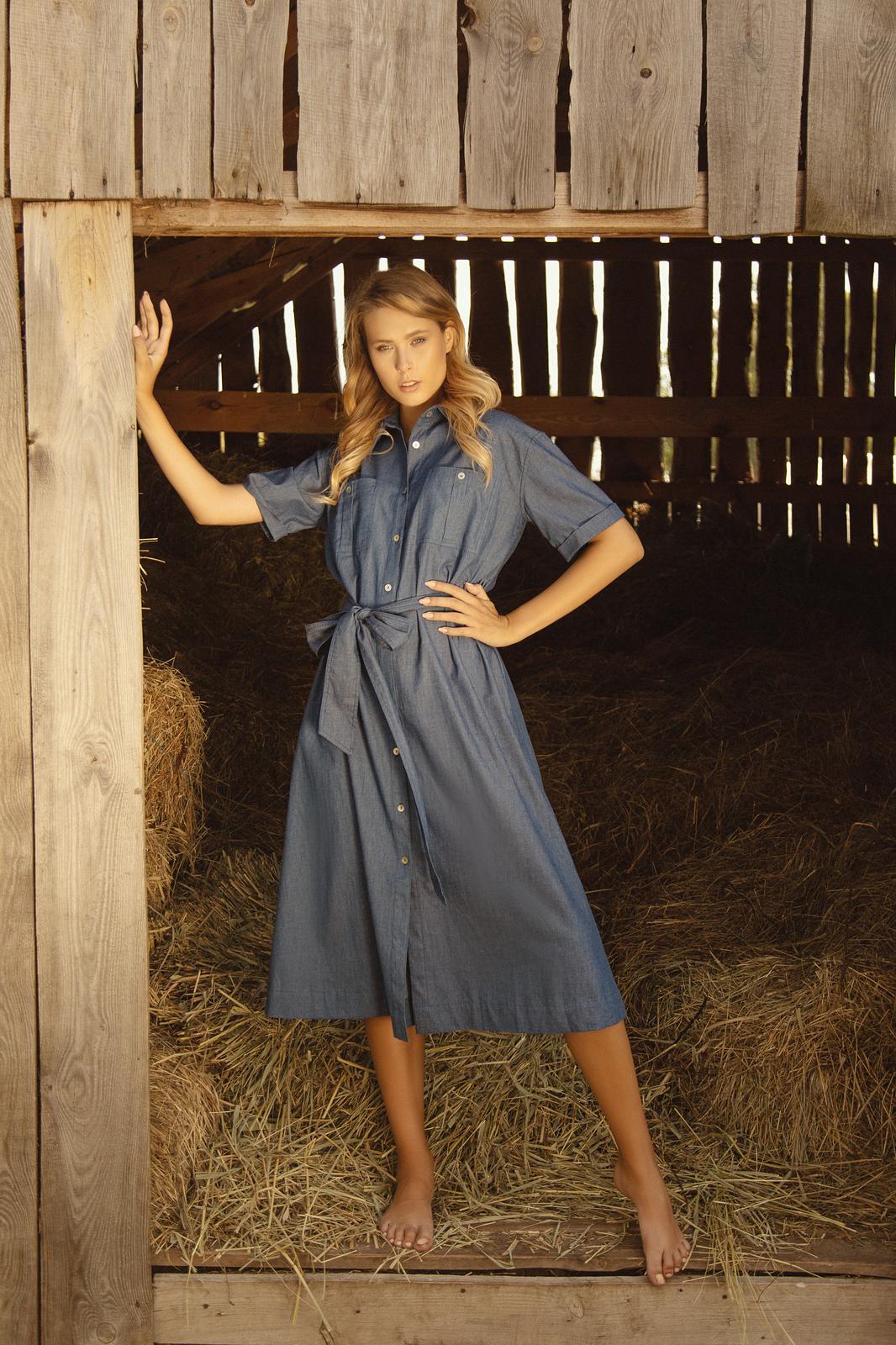 Платье с накладными карманами и кор.рукавами Синий тонкий джинс